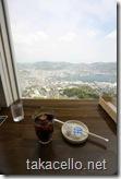 稲佐山展望台でアイスコーヒーを飲みながら景色を堪能