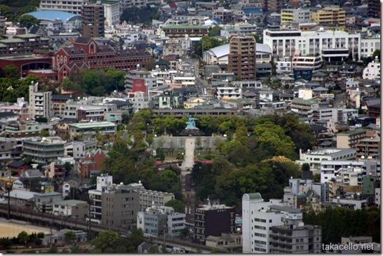 稲佐山から平和公園を望む