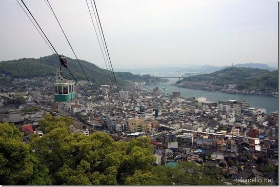 千光寺からロープウェイと尾道市街を望む