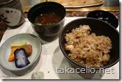 ガーリックライスと味噌汁、お漬け物